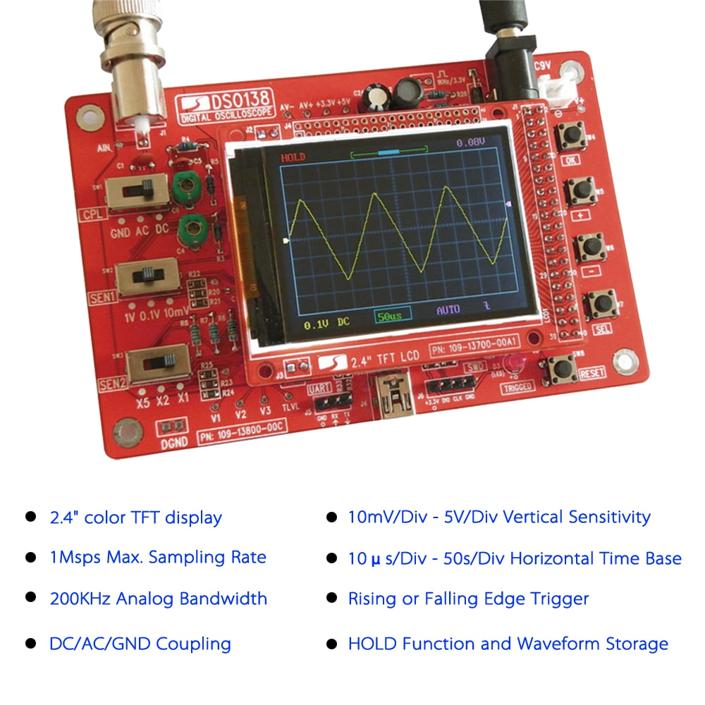 Kit DIY de osciloscopio Digital TFT DSO de 138 pulgadas, sin soldadura, conjunto de aprendizaje electrónico de 2,4 KHz, sonda 1MSa/s de ancho de banda analógico
