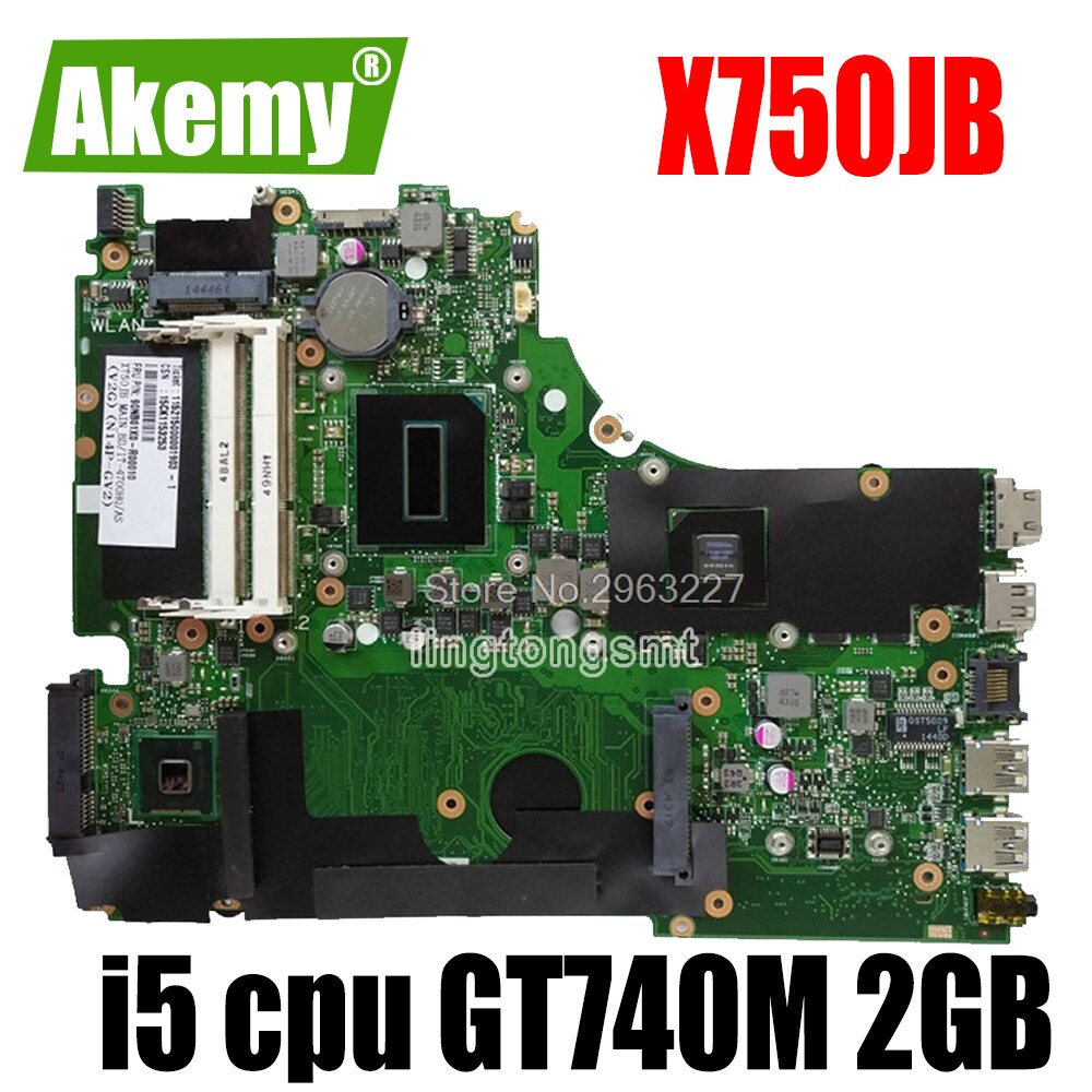 Para For For For For Asus A750J A750JB K750J K750JB X750JB REV2.0 placa base con i5 GT740M 2g ram 100% probado placa base