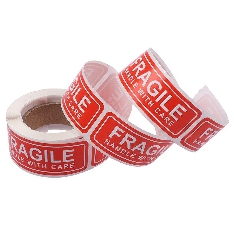 150 pces/rolo novo 1x3 polegada frágil etiqueta adesivos lidar com cuidado obrigado sinais de aviso tags