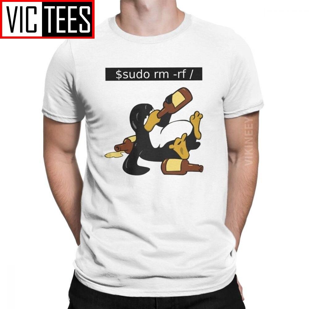 Impresionante divertido Linux Command divertido Tux camiseta para hombres Homme 100 por ciento Camiseta de algodón