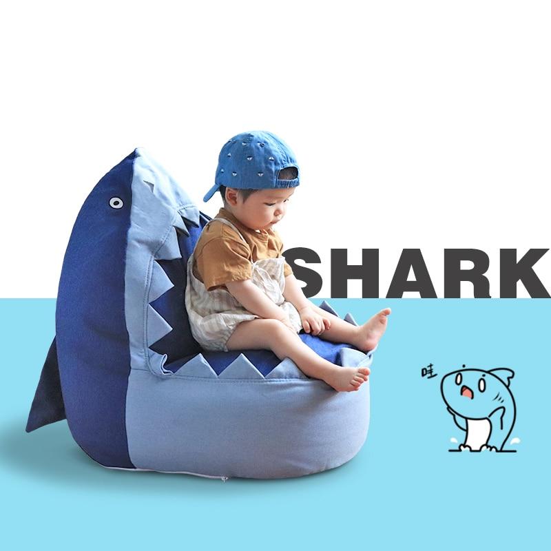 Babyinner Children's Lazy Sofa Cute Shark Bean Bags Cartoon Tatami Chairs Sofa Kids Lounger Seat Pouf Puff Couch Living Room enlarge
