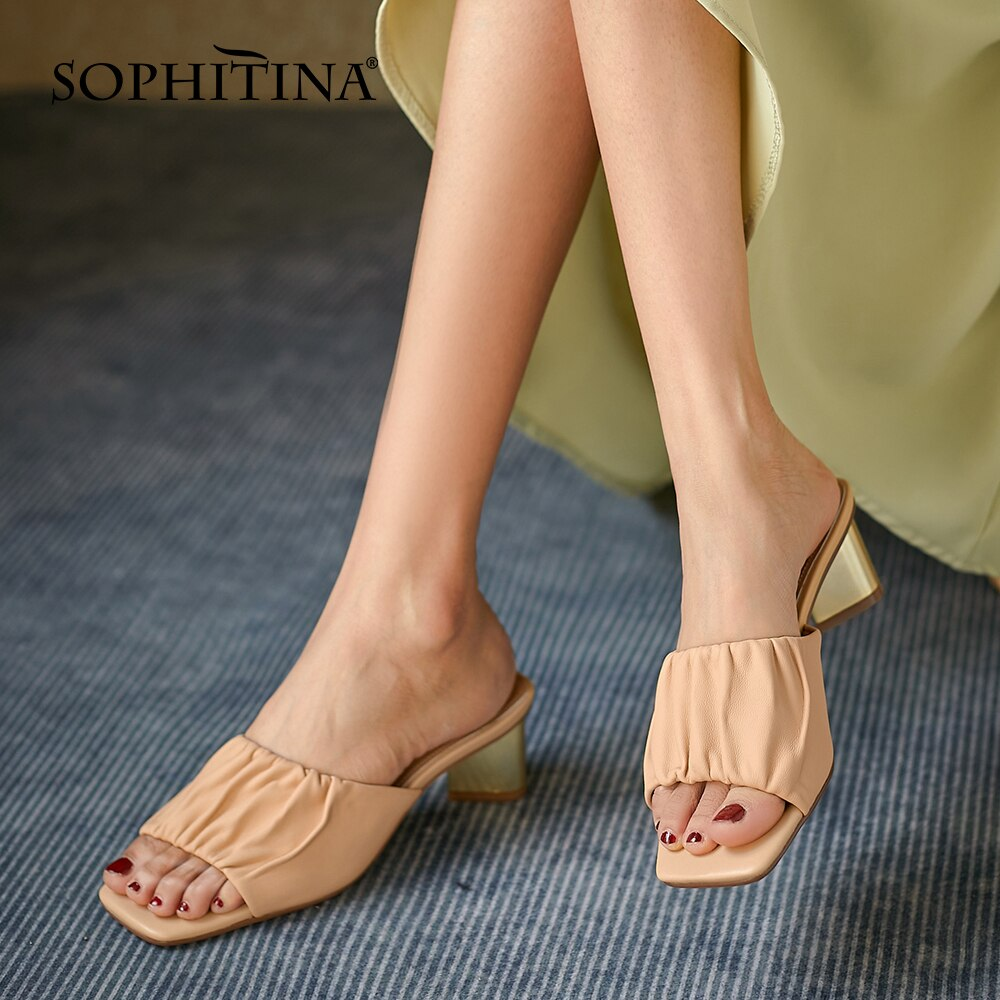 سوفيتينا النساء النعال موجزة البيج تخفيف الراحة أحذية جلد الغنم المفتوحة تو مطوي في الهواء الطلق الصيف أحذية سيدة عادية AO925