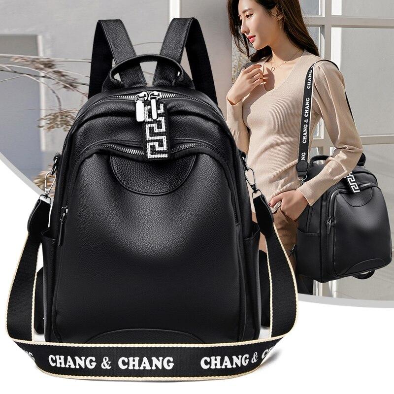 Black Soft Leather Women's Backpack 2021 New Knapsack Multifunction School Backpacks Travel Shoulder Bookbag Female Big Backpack