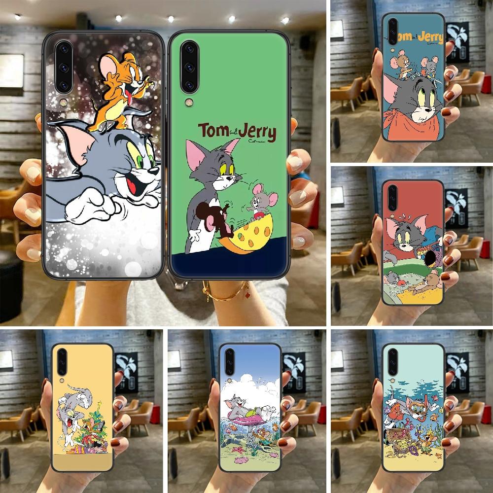 Cartoon Nette Tom Katze Jerry Telefon Fall Für Für SamSung Galaxy A M 5 8 10 20 30 31 40 50 51 70 71 80 S E Schwarz schwarz Etui Silikon