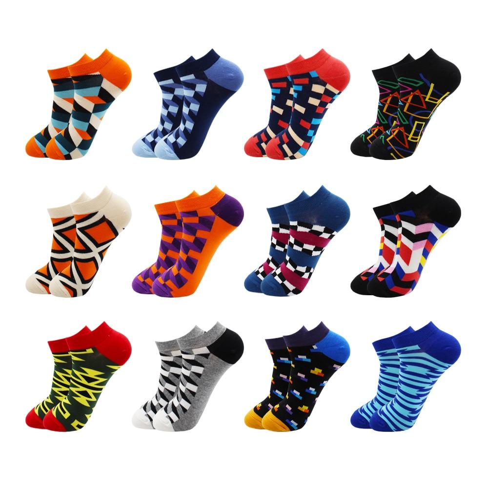 6-12 Pairs Novelty Funny Casual Ankle Socks Fashion Colorful Harajuku Fruit Animal Grid Cotton Men Socks Slippers