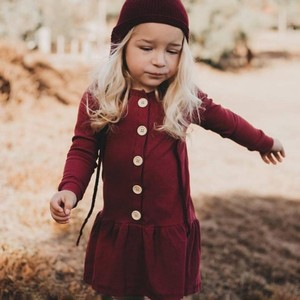 Child Casual A-Line Dress Set Kids Long Sleeve Hair Band Girls Cotton Solid Color Clothing Girls Knee-Length Pure Cotton Dresss