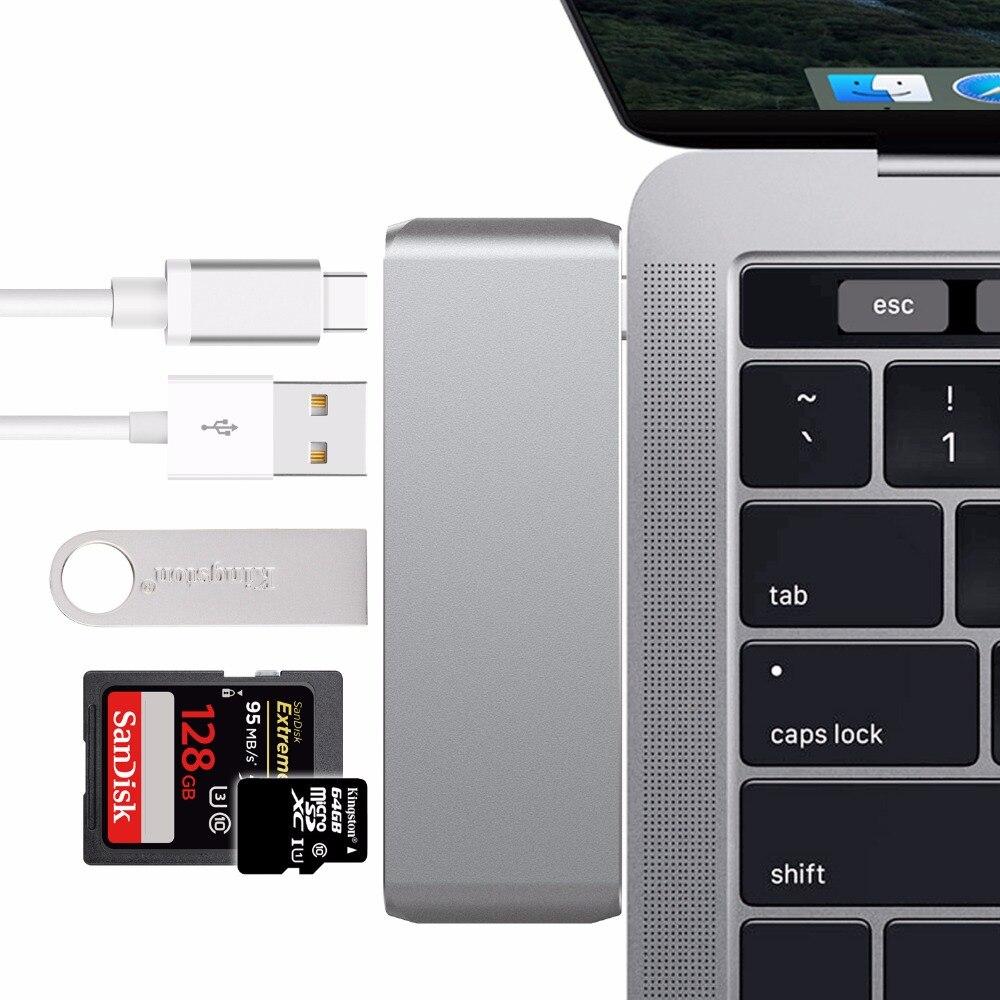 USB-C 3,1 Dock Dongle Thunderbolt 3 adaptador con USB-C 3,0 SD TF Tarjeta de lector de tipo C de la policía de puerto de carga Combo para el Macbook pro