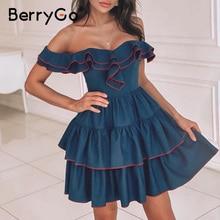 BerryGo Sexy off shoulder women denim dress Solid ruffle bodycon female A line short sundress Party club ladies mini dress 2020