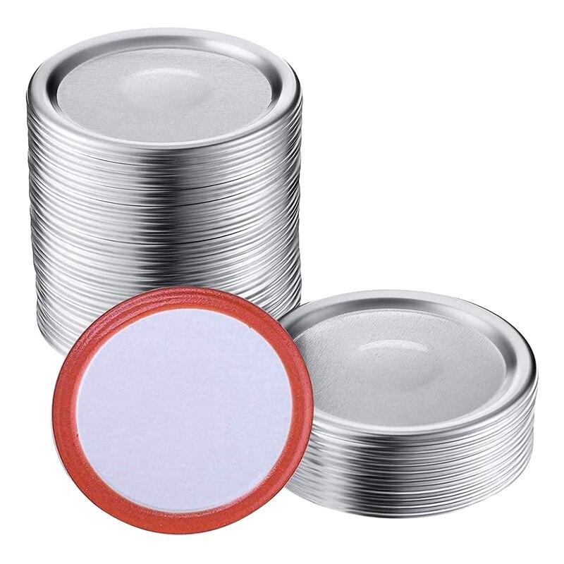 100 قطعة واسعة الفم 86 مللي متر ميسون جرة تعليب الأغطية ، قابلة لإعادة الاستخدام تسرب برهان انقسام نوع الفضة الأغطية مع سيليكون الأختام خواتم