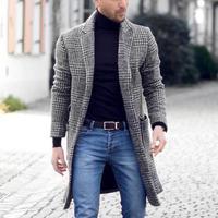 Высококачественное новое осенне-зимнее теплое мужское Ретро модное эксклюзивное однобортное пальто длинное шерстяное Пальто Повседневно...