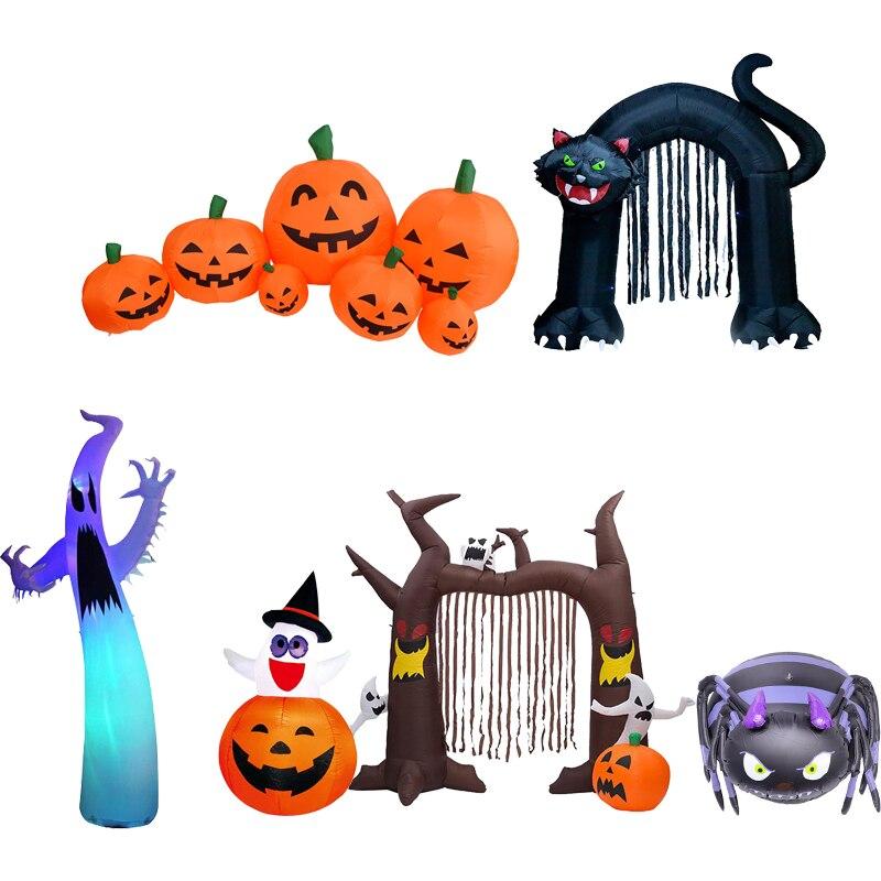 ¡Novedad de 2020! Decoración de juguetes para Halloween en exteriores, luces LED inflables con calabaza, fantasma, esqueleto, Calavera, Araña, fiesta de Halloween