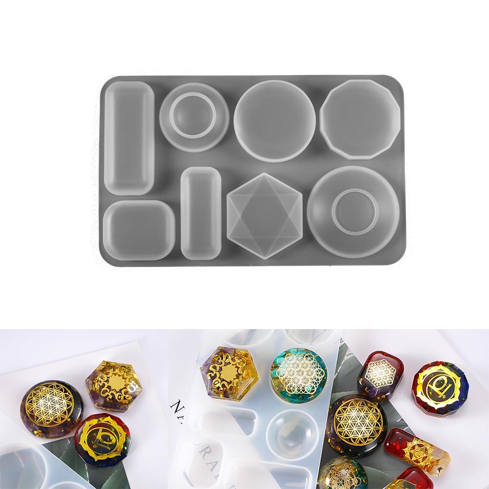 Драгоценный камень силиконовые формы для литья под давлением для ди-смолы ювелирные подвески 8 силиконовые формы для литья инструменты для ...