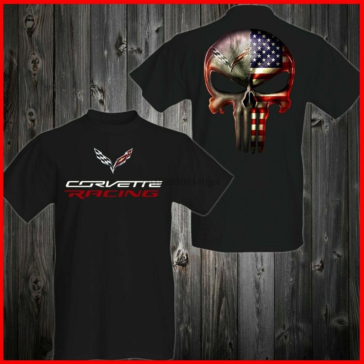 Корвет C7 C6 C5 C4 C3 C2 C1 Z06 Zr1 Каратель американский флаг футболка S-3Xl Тройник