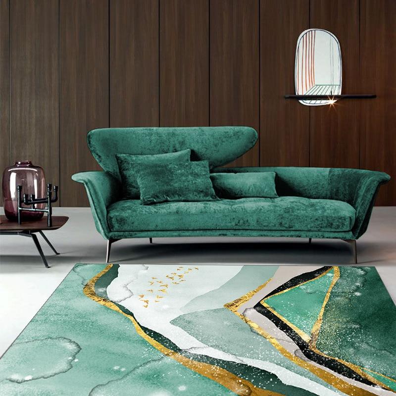 سجادة غرفة نوم إسكندنافية باللون الأخضر الداكن ، شبكة أريكة فاخرة لغرفة الفتاة مع مصباح بجانب السرير