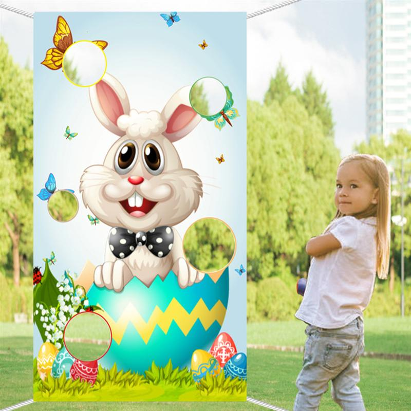1Pc Easter Toss Game Flag Day Rabbit Bunny Themed Banner Bean Bag Kid Toy