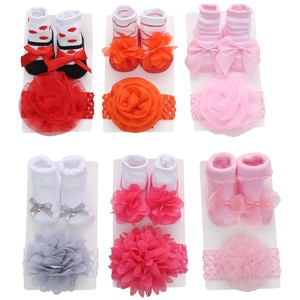 Newborn Solid Color Lace Socks+Headband Baby 2pcs Bow Princess Cute Baby Socks+ Hair Band set Kids Photo Props Baby Shower