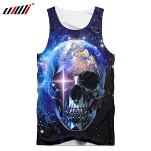 UJWI New Sleeveless Shirt Man Oversized O-Neck Tank Top Print Universe Space Earth Skull Summer Clothes Casual Dropship