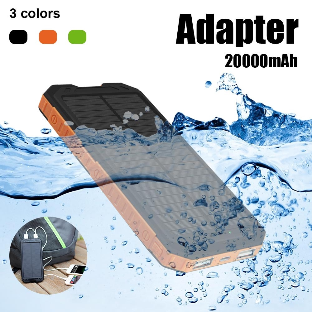 200000MAH Outdoor Lighting Waterproof Portable Mobile Solar Lamp Charger Dual USB Battery Power Bank Case Kit Hot Selling