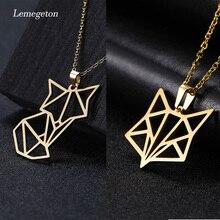Lemegeton renard animaux pendentifs colliers géométrie stéréo Origami collier acier inoxydable personnalité bijoux