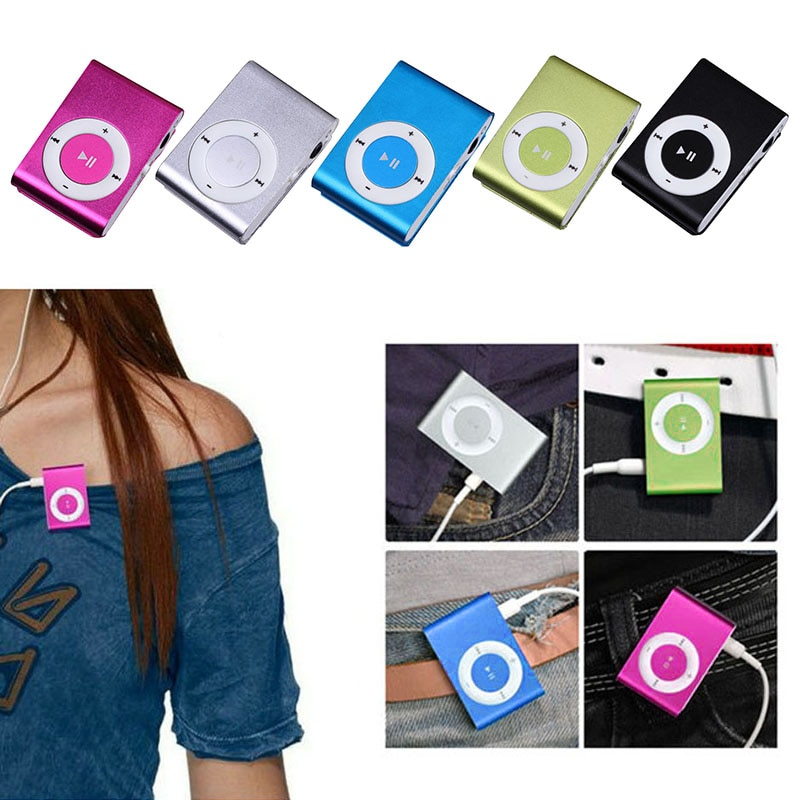New Portable Mini Clip-on MP3 Music Player With Micro TF/SD Slot Portable Metal Mp3 With Earphone USB 2.0 Port Sports MP3 Player