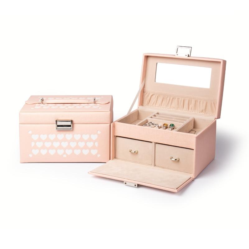 Mini double stud earring ring jewelry box with logo Pu leather, with zipper white travel portable jewelry box caja de joyas