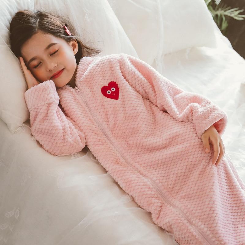 فتاة الخريف الشتاء طويل دافئ الفانيلا Bathrobe للفتيات دافئ روب استحمام سستة ليلة روب للنوم الاطفال ملابس خاصة حجم 6 8 10 12Y
