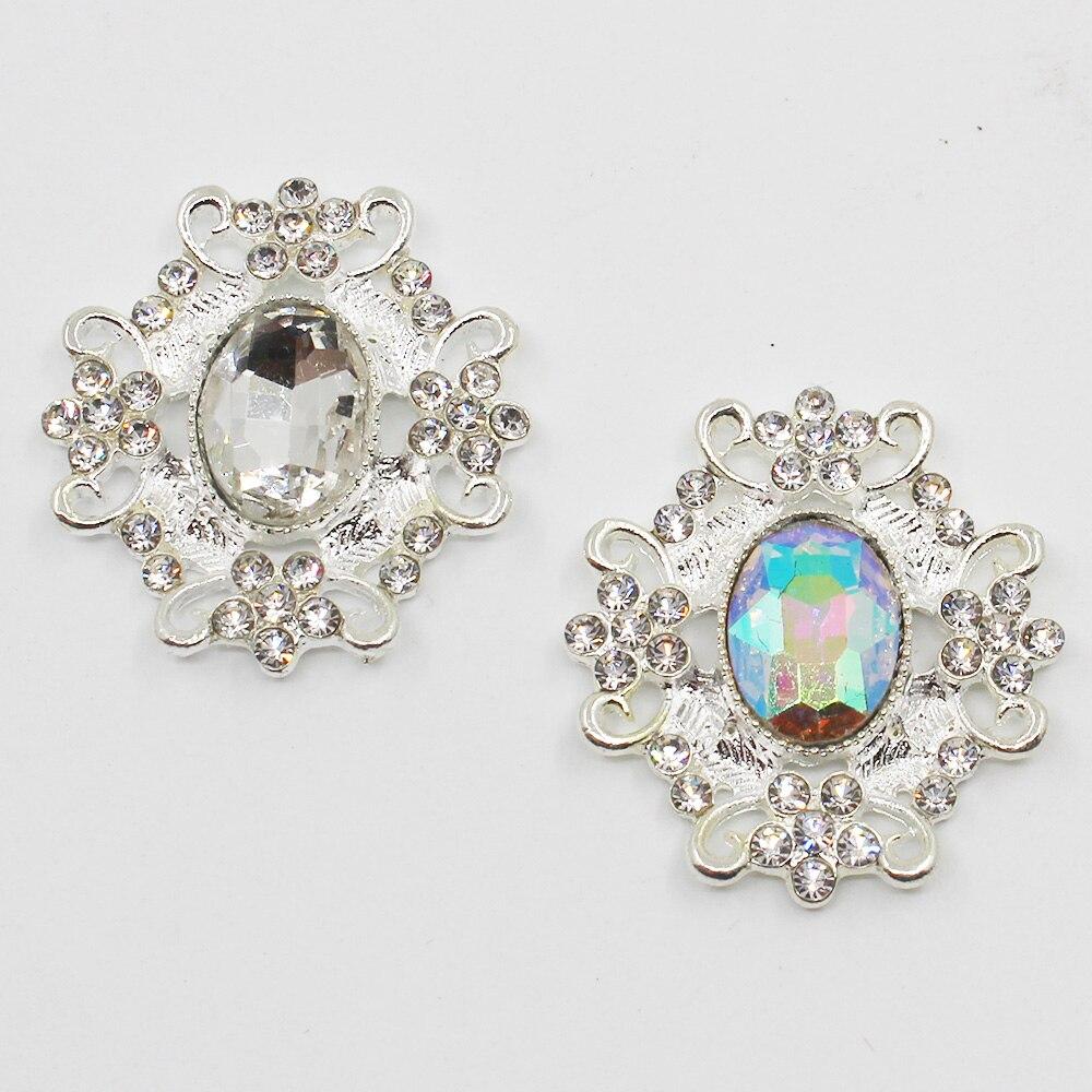 Moda 10 pc 29*33mm botões de prata diy sapatos de casamento sacos de roupas decoraation cabelo flor centro scrapbooking
