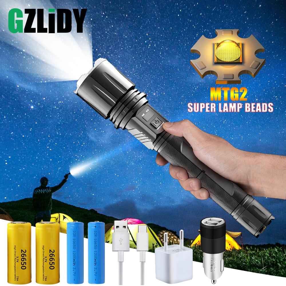 lanterna led superclara com mtg2 poderosa lampada com conta tatica entrada usb e