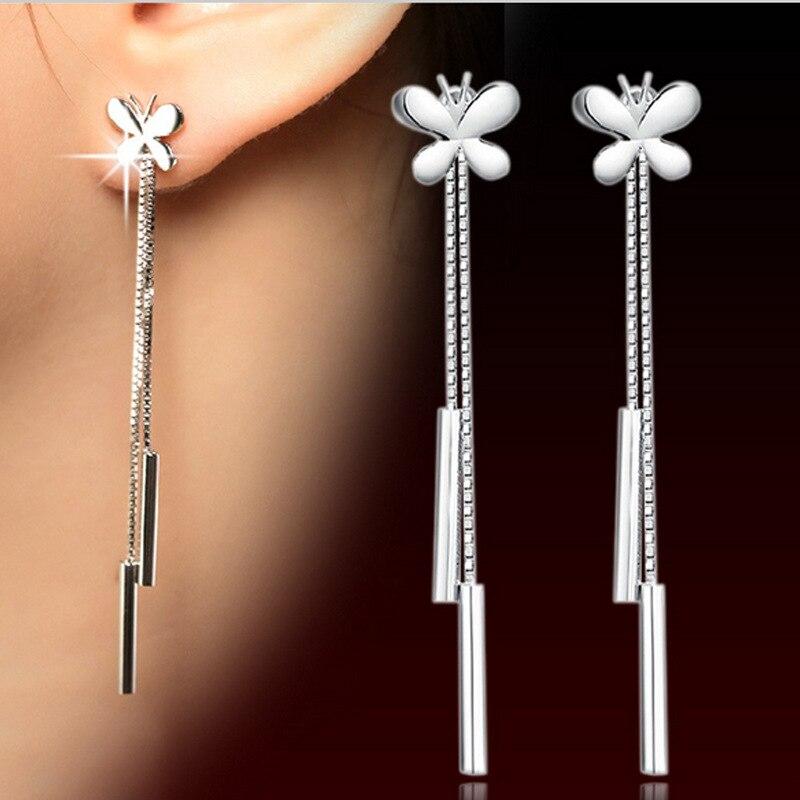 Pendientes a la moda de color plateado con borlas y cadena de mariposa, pendientes Vintage europeos y americanos de Plata para mujer