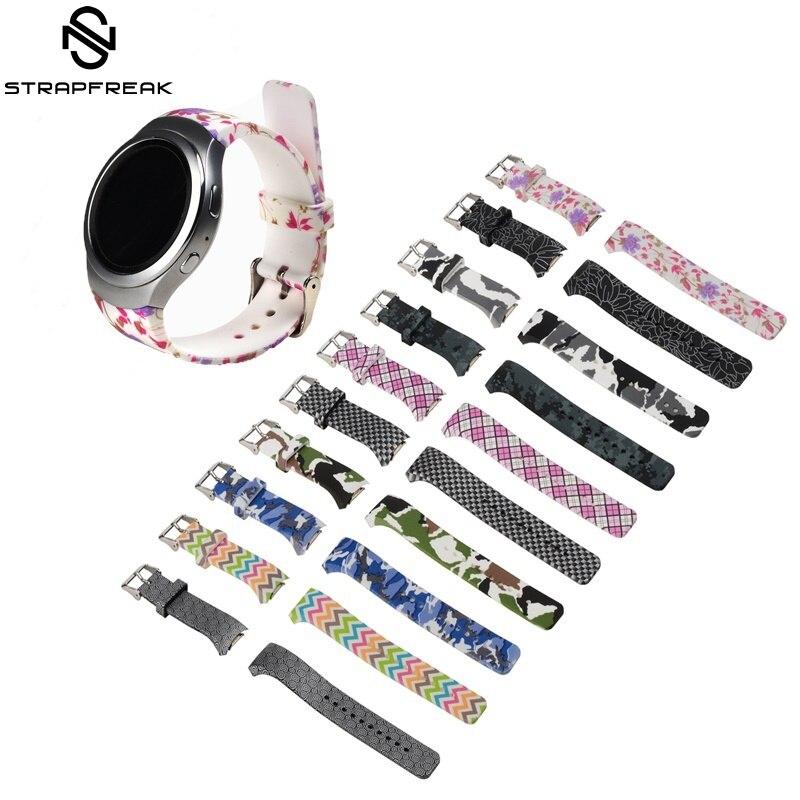 Correa de reloj de goma con estampado de flores para Samsung Gear S2 R720, repuesto de pulsera para hombre y mujer, correa para reloj inteligente SM-R720