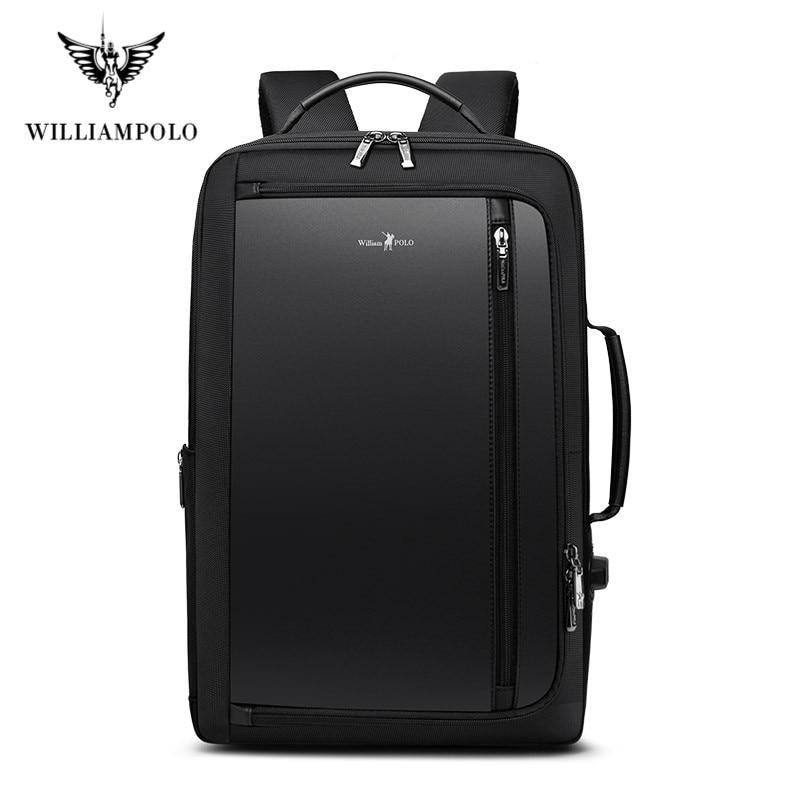 Mochila de lujo para hombre de WILLIAMPOLO, mochila antirrobo multifuncional impermeable para viajes de negocios, bolsa de viaje para ordenador portátil con carga USB