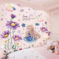 shiuekongjian daisy flowers plants wall stickers diy girl clouds wall decals for living room kids bedroom house decoration