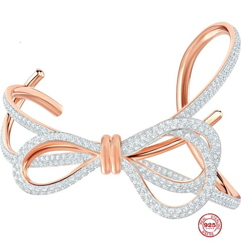 2020 جديد الموضة سحر نقية 925 الفضة الأصلي 1:1 نسخة ، رومانسية الطازجة القوس سوار بدون قفل الإناث الفاخرة مجوهرات هدايا