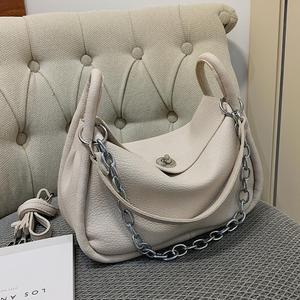 Elegant Female Solid Color Armpit bag 2021 New High quality PU Leather Women's Designer Handbag Portable Shoulder Messenger Bag