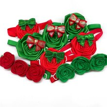 30/50pcs Red Green Rose Xmas Style Dog Bow Ties Collars Christmas Small Dog Bowties Pet Dog Holiday