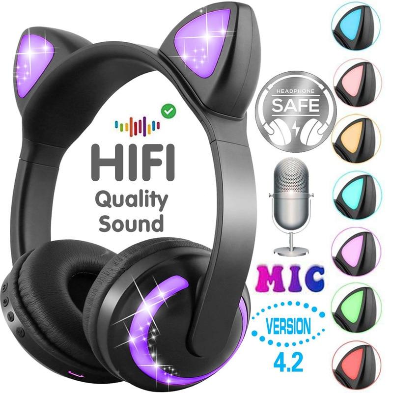 De dibujos animados Bluetooth lindo auriculares de gato gatito auricular inalámbrico estéreo HIFI bajo con micrófono regalo para mujer amiga
