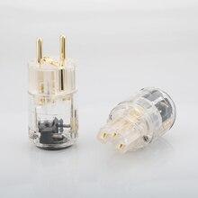 Hi Fi прозрачный позолоченный евро Штепсель удлинитель кабеля питания разъем IEC женский 1 пара мужской женский разъем