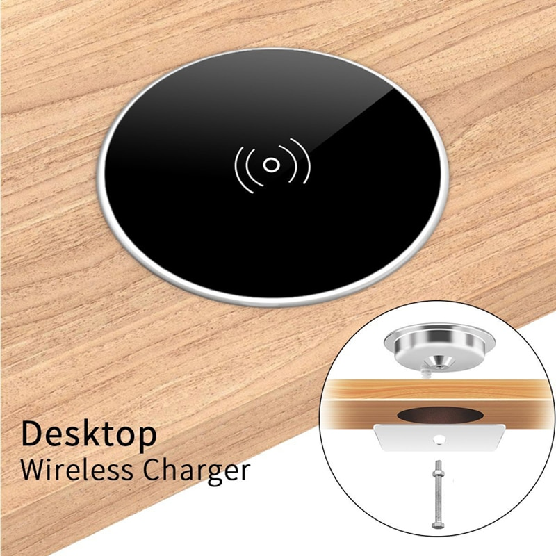 Built in Desktop Wireless Charger Desktop Furniture Embedded Qi Fast Wireless Charger Charging For i