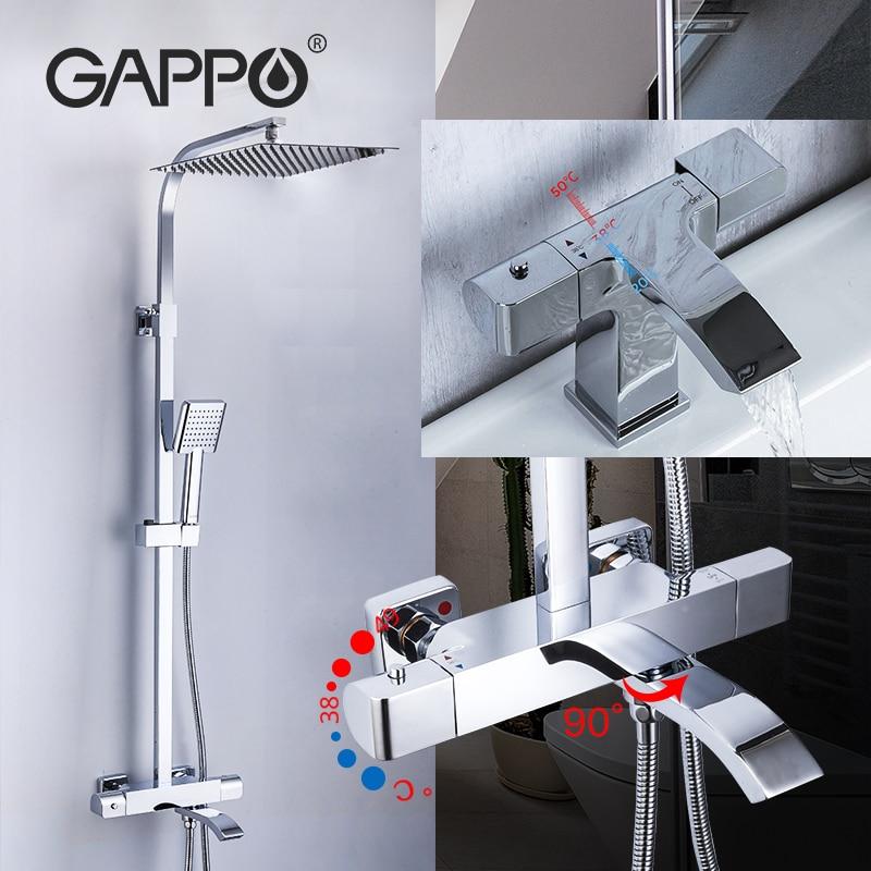GAPPO-صنبور دش نحاسي ، نظام ثرموستاتي ، مع صنبور شلال ، للحمام