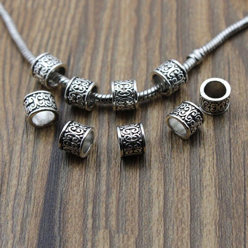 20 unids/lote agujero grande 6mm, espaciador abalorios de plata estilo antiguo cuentas sueltas para hacer joyas pulsera accesorios hechos a mano artesanía
