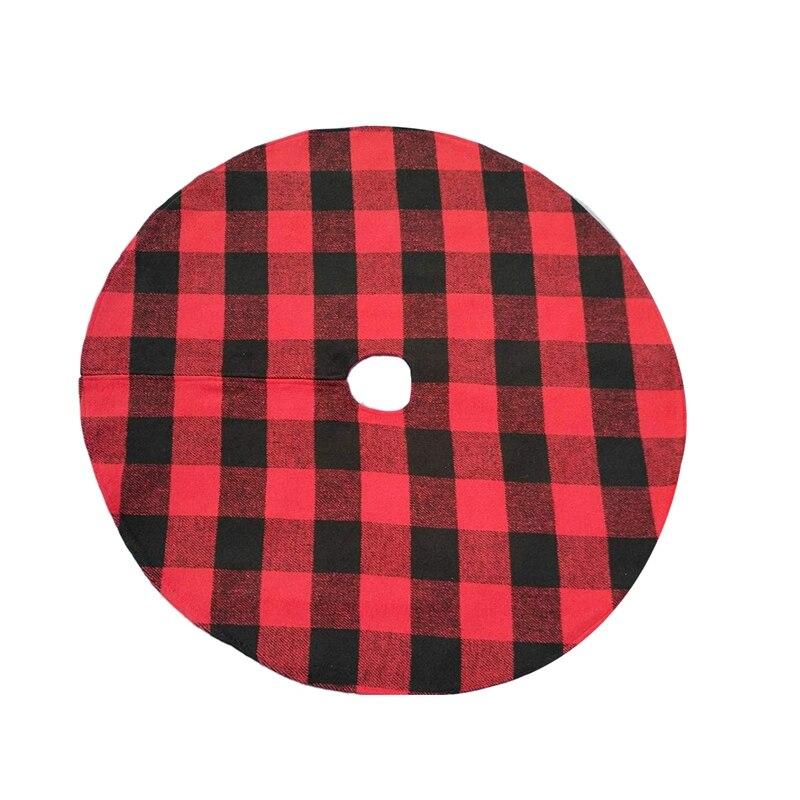Buffalo Plaid Christmas Tree Skirt - Red Andblack Checks for Atraditional Look - Machine Wash Anddry-ABUX