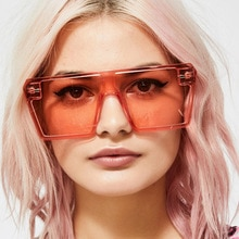 Square Oversized Sunglasses Women Luxury Brand Fashion Flat Top Clear Red Blue Lens Glasses One Piec
