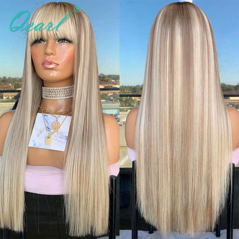 Straight Lace Front Wig with Bangs Ash Grey Blonde Highlights Colored Human Hair Wigs 13x4/13x6 Remy Hair Free Part 150% Qearl