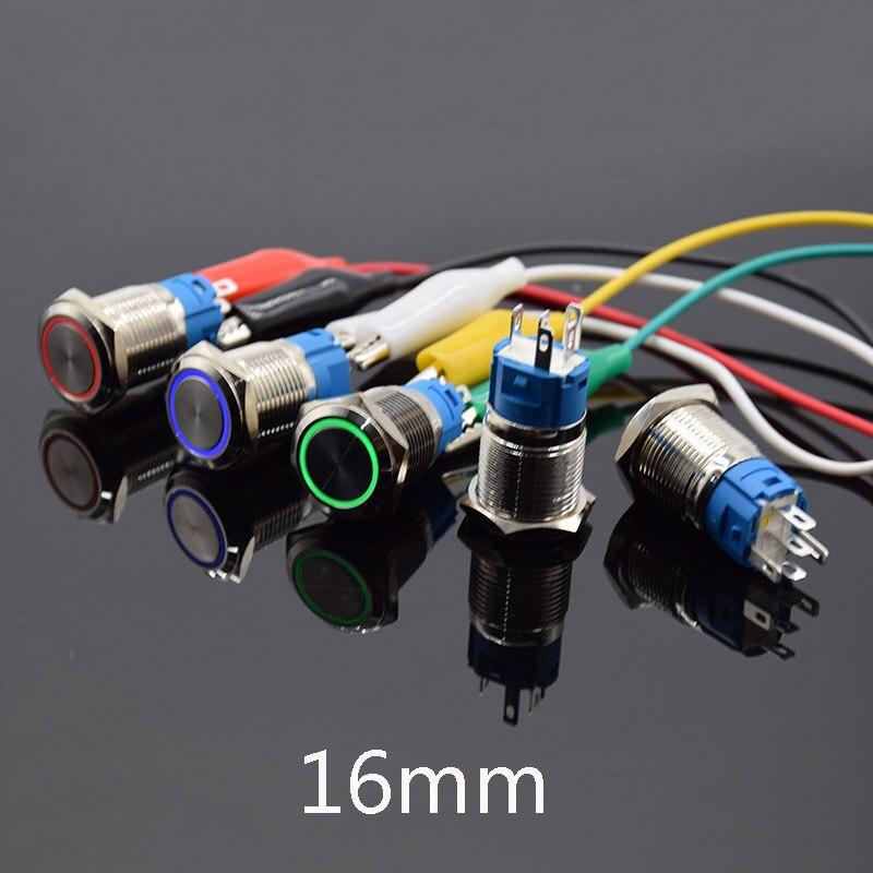 Interrupteur à verrouillage automatique 12V 110V 220V   Bouton de poussée en métal instantané, bouton dalimentation de démarrage de voiture, 16mm 3-6V 12V V, bleu