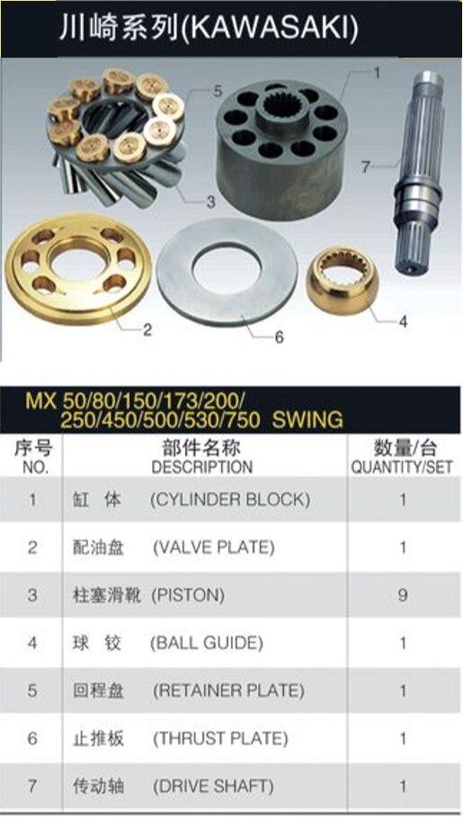 قطع غيار مضخة هيدروليكية MX150 ل عدة إصلاح مضخات الوقود كاواساكي مكبس مضخة نوعية جيدة