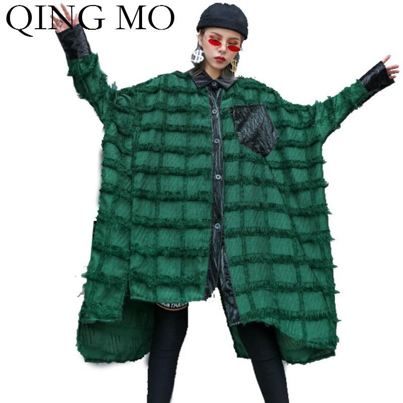 بلوزة تشينغ مو حجم كبير للسيدات بلوزة حريمي خضراء عتيقة نمط جيب بلوزة بأكمام تشبه جناح الخفّاش موضة خريف 2021 ZQY1793