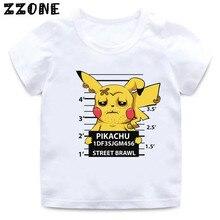 2020 nouveau bébé garçons t-shirt criminel Pikachu/Charmander Pokemon aller enfants T-Shirts dessin animé filles hauts vêtements pour enfants, HKP5361