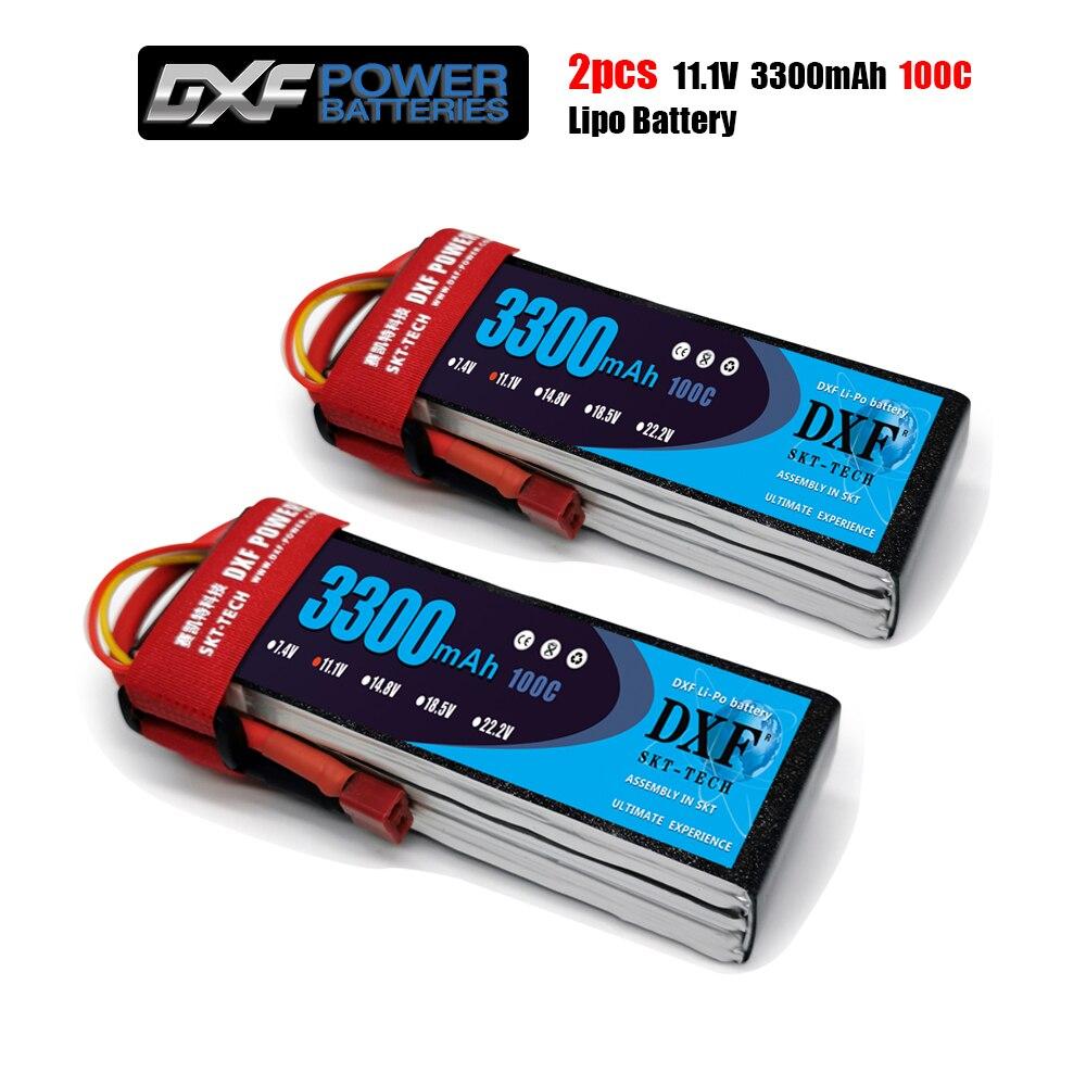 2 uds DXF buena calidad RC Lipo batería 3S 11,1 V 3300mah 100C Max 200C para avión Drone Quadrotor coche barco camión fpv