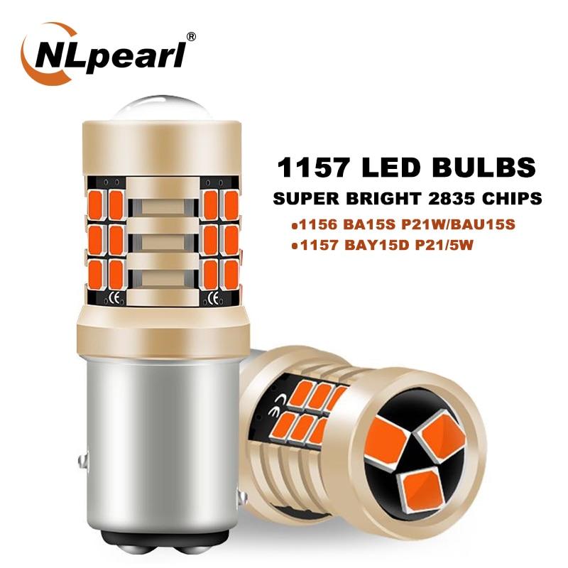 NLpearl 2X Signal Lamp 1157 BAY15D P21W Led Brake Light 21SMD 1156 BA15S BAU15S Py21W Car Turn Lights 12V White