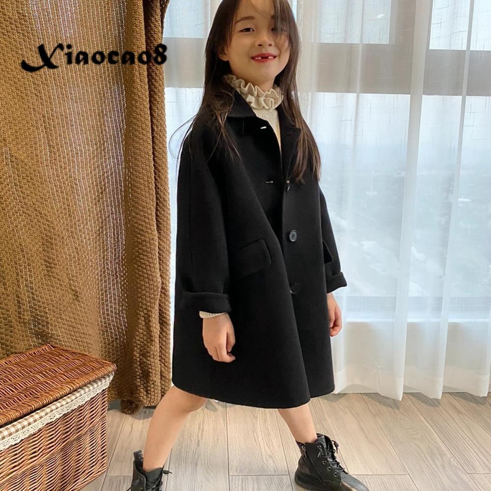 Autumn Winter Unisex Kids Black Woolen Thick Jacket Coat 3-14Y Children Toddler Fall Clothes Outerwear Boys Girls Long Jackets